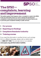 """SPSO leaflet called """"The SPSO- complaints, learning and improvement"""""""