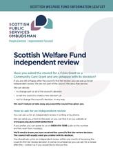 Scottish Welfare Fund Information Leaflet