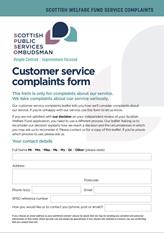 Customer Service Complaints form
