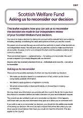 Asking us to reconsider our decision leaflet