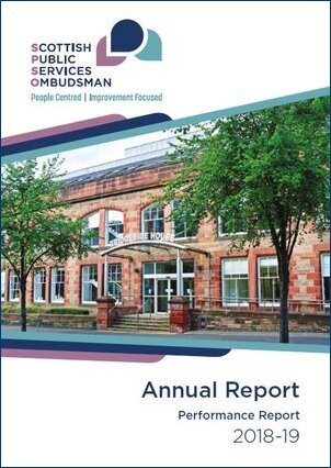 Front cover of the 2018-19 Annual Report.  It contains the title 2018-19 Annual Report and a picture of SPSO's office entrance at Bridgeside House.  Bridgeside House retains it's original period fronting (red brick).